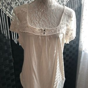 H&M Lace Tee w/ Buttons